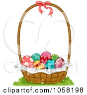 Royalty Free Vector Clip Art Illustration Of A Basket Of Decorated Easter Eggs