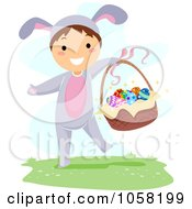 Royalty Free Vector Clip Art Illustration Of A Boy In A Bunny Costume Holding An Easter Basket