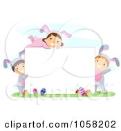 Royalty Free Vector Clip Art Illustration Of Easter Kids In Bunny Costumes Around A Blank Sign