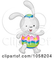 Royalty Free Vector Clip Art Illustration Of An Easter Bunny Wearing An Egg Shell Suit by BNP Design Studio