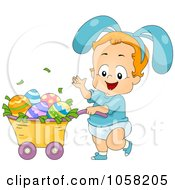 Royalty Free Vector Clip Art Illustration Of An Easter Boy Wearing Bunny Ears And Pushing Eggs In A Wheelbarrow by BNP Design Studio