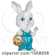 Royalty Free Vector Clip Art Illustration Of An Easter Bunny Wearing Overalls And Holding A Basket And Egg