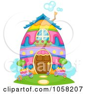 Royalty Free Vector Clip Art Illustration Of A Colorful Easter Egg House With Bubbles Rising From The Chimney