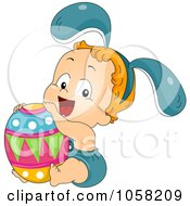 Royalty Free Vector Clip Art Illustration Of A Toddler In A Bunny Costume Holding An Easter Egg