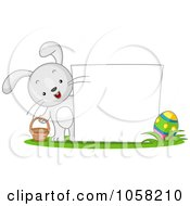 Royalty Free Vector Clip Art Illustration Of A Bunny With A Basket And Easter Egg By A Blank Sign
