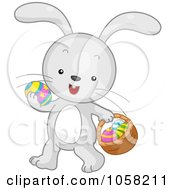 Royalty Free Vector Clip Art Illustration Of An Easter Bunny Carrying An Egg In One Paw And A Basket In The Other by BNP Design Studio