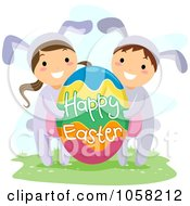 Royalty Free Vector Clip Art Illustration Of Easter Kids In Bunny Costumes Carrying A Happy Easter Egg