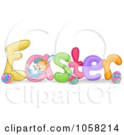 Royalty Free Vector Clip Art Illustration Of A Baby Playing On The Word EASTER