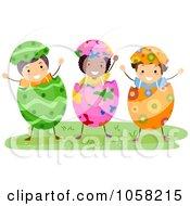 Royalty Free Vector Clip Art Illustration Of Three Easter Kids Wearing Egg Shells by BNP Design Studio