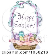 Royalty Free Vector Clip Art Illustration Of A Basket Of Decorated Eggs With A Happy Easter Greeting