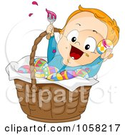 Royalty Free Vector Clip Art Illustration Of An Easter Toddler Boy Painting Eggs In A Basket