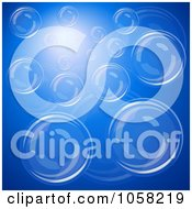 Royalty Free Vector Clip Art Illustration Of A Background Of Bubbles And Light Over Blue