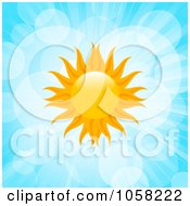 Royalty Free Vector Clip Art Illustration Of An Orange Fiery Sun In A Blue Sky With Flares