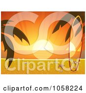 Royalty Free Vector Clip Art Illustration Of A Matching Surf Board On A Tropical Beach At Sunset