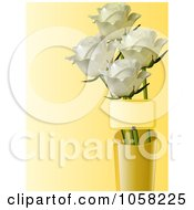 Royalty Free Vector Clip Art Illustration Of A Vase Of White Roses And A Tag by elaineitalia