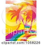 Grungy Rainbow Surfboard On A Matching Palm Tree Rainbow Scene