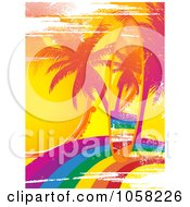 Royalty Free Vector Clip Art Illustration Of A Grungy Rainbow Surfboard On A Matching Palm Tree Rainbow Scene