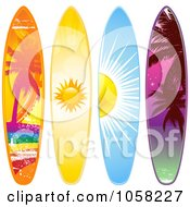 Royalty Free Vector Clip Art Illustration Of A Digital Collage Of Surf Boards With Summer Designs