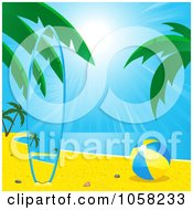 Royalty Free Vector Clip Art Illustration Of A Matching Surf Board On A Tropical Beach By A Ball by elaineitalia