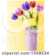 Royalty Free Vector Clip Art Illustration Of Tulips In A Pink Vase With A Tag by elaineitalia