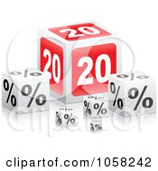 Royalty Free Vector Clip Art Illustration Of 3d 20 Percent Boxes With Reflections by Andrei Marincas