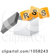 Royalty Free Vector Clip Art Illustration Of An Orange RSS Symbol In A 3d Box by Andrei Marincas