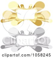 Royalty Free Vector Clip Art Illustration Of A Digital Collage Of 3d Silver And Golden Tube Banners With Copyspace