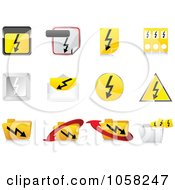 Royalty Free Vector Clip Art Illustration Of A Digital Collage Of 3d Electric Icon Design Elements by Andrei Marincas