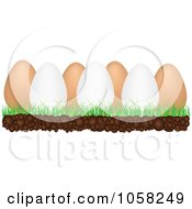 Royalty Free Vector Clip Art Illustration Of A 3d White And Brown Eggs In Grass by Andrei Marincas