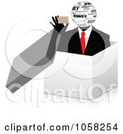 Royalty Free Vector Clip Art Illustration Of A 3d Money Businessman Holding A Card In A Box by Andrei Marincas