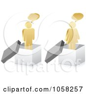 Royalty Free Vector Clip Art Illustration Of A Digital Collage Of 3d Talking Golden People In Boxes