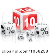 Royalty Free Vector Clip Art Illustration Of 3d 10 Percent Boxes With Reflections by Andrei Marincas