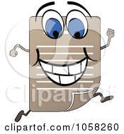 Royalty Free Vector Clip Art Illustration Of A Running Document Character