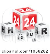 Royalty Free Vector Clip Art Illustration Of 3d 24 Hour Cubes With Reflections