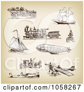Royalty Free Vector Clip Art Illustration Of A Digital Collage Of Brown Sketches Of Transportation 2