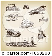 Royalty Free Vector Clip Art Illustration Of A Digital Collage Of Brown Sketches Of Transportation 3 by Eugene
