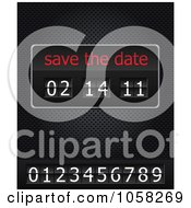 Royalty Free Vector Clip Art Illustration Of A Save The Date Ticker With Numbers On A Black Grid