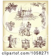 Royalty Free Vector Clip Art Illustration Of A Digital Collage Of Brown Sketches Of Vitners And Wineries by Eugene