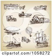 Royalty Free Vector Clip Art Illustration Of A Digital Collage Of Brown Sketches Of Transportation 1 by Eugene