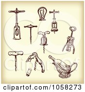 Royalty Free Vector Clip Art Illustration Of A Digital Collage Of Brown Sketches Of Cork Screws 3 by Eugene