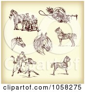 Royalty Free Vector Clip Art Illustration Of A Digital Collage Of Brown Sketches Of Jockeys And Horses 2
