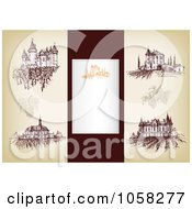 Royalty Free Vector Clip Art Illustration Of A Digital Collage Of Brown Sketches Of Wineries And A Blank Label by Eugene