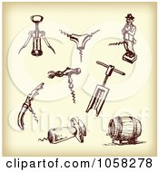 Royalty Free Vector Clip Art Illustration Of A Digital Collage Of Brown Sketches Of Cork Screws 2 by Eugene