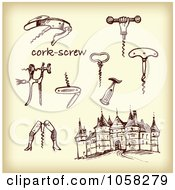 Royalty Free Vector Clip Art Illustration Of A Digital Collage Of Brown Sketches Of Cork Screws 1 by Eugene
