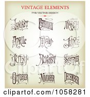Royalty Free Vector Clip Art Illustration Of A Digital Collage Of Brown Sketches Of Ornate Months