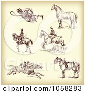 Royalty Free Vector Clip Art Illustration Of A Digital Collage Of Brown Sketches Of Jockeys And Horses 1