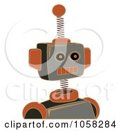 Royalty Free Vector Clip Art Illustration Of A Springy Gray And Orange Robot