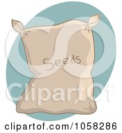 Royalty Free Vector Clip Art Illustration Of A Sack Of Garden Seeds Over A Blue Oval
