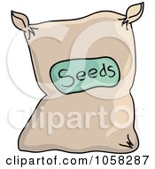 Royalty Free Vector Clip Art Illustration Of A Sack Of Garden Seeds by Pams Clipart