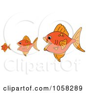 Royalty Free Vector Clip Art Illustration Of Three Gold Fish The Bigger Ones Eating The Smaller Ones
